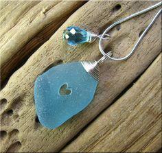 Scilly Isles sea glass heart pendant £16.00