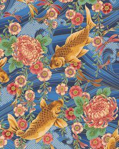 Nobu Fujiyama Peaceful Stream - Koi & Chrysanthemums - Quilt Fabrics from www.eQuilter.com