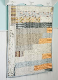 baby quilt - neutral Jellyroll Quilts, Scrappy Quilts, Mini Quilts, Strip Quilts, Boy Quilts, House Quilts, Quilting Projects, Quilting Designs, Quilting Tutorials