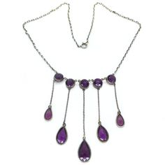 Vintage Art Deco Open Back Amethyst Purple Glass Paste Festoon Drop Necklace  | Clarice Jewellery