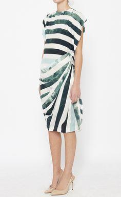 Dries Van Noten White And Green Dress | VAUNTE