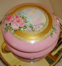 Gorgeous Antique Limoges France Hand Painted Powder Box -Dresser Box from theverybest on Ruby Lane