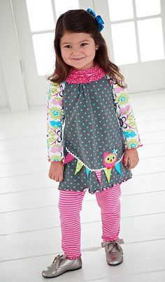 Peaches n Cream Hoo Me? Grey Pink OWL Leggings set Girls 4-6x :: Little Girls 4 - 6x :: Shop By Size :: Color Me Happy Boutique FALL 2013
