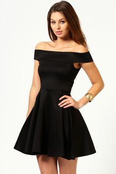 $26, Boohoo Tamsin Off The Shoulder Skater Dress. Sold by BooHoo. Click for more info: https://lookastic.com/women/shop_items/164204/redirect