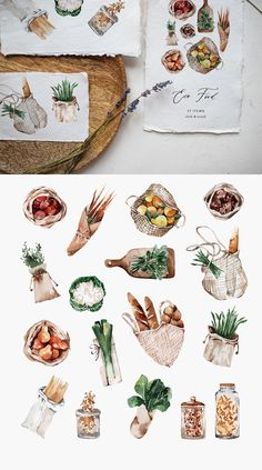 Watercolor Eco Food Clipart - Zero Waste Vegan Clipart - Eco Friendly Clipart - Shopping Cotton Bag - No Plastic Clipart - Fruits Vegetables Watercolor Food, Watercolor Illustration, Watercolor Paintings, Simple Watercolor, Tattoo Watercolor, Watercolor Trees, Watercolor Animals, Watercolor Techniques, Watercolor Background