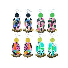 Geometric Earrings, Abstract Art, Gold Earrings, Neon Drop Earrings, Leather Earrings, Metallic Earrings, Painted Earrings, Dangle Earrings
