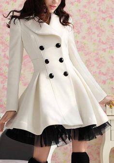 White Ruffled Tulle Coat - Adorable Ruffled Hem Coat