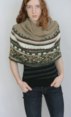 Upcycled Recycled Repurposed Sweater Shawl Poncho Wrap by Saxiib