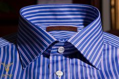 Blue Peacock Stripe With Alternating Red And Blue Striped Pique Dress Shirt With Double Button Bevelled Cuffs