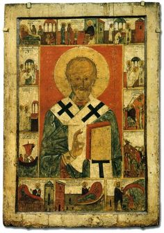 St Nicholas with Scenes from His Life School or cultural centre: Novgorod (?) First half of the century 140 × 98 cm The Russian Museum, Saint Petersburg, Russia Byzantine Icons, Byzantine Art, Typical Russian, Russian Icons, Church History, Saint Nicholas, 14th Century, Illuminated Manuscript, Mosaic