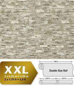 XXL Steen behang natuursteen EDEM 918-34 Vliesbehang muur optiek in reliëf licht grijs natuur grijs graniet   10,65 qm 001