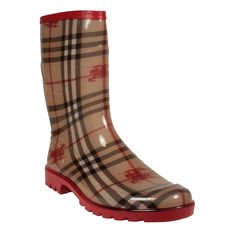 | ... Womens Shoes Equestrian Knight Brown/Red Winter Rain Boots (BUR048