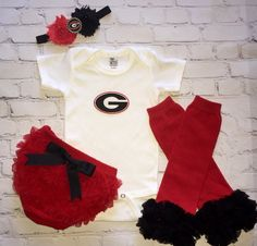 Georgia Baby Outfit -  University of Georgia Baby onesie - GA Bulldogs baby girl outfit - UGA headband - GA Bulldogs baby by cupcakenstudmuffins on Etsy https://www.etsy.com/listing/273705990/georgia-baby-outfit-university-of