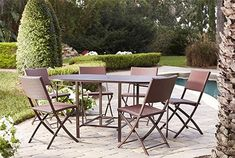 COSCO Outdoor Living 7 piece Delray steel woven wicker compact folding patio dining set is perfect for small outdoor space use. Featuring a two color weave the folding chairs will match any outdoor p. Furniture Sets Design, Dining Furniture Sets, Outdoor Furniture Sets, Furniture Decor, Outdoor Dining Set, Patio Dining, Outdoor Living, Outdoor Decor, Small Dining