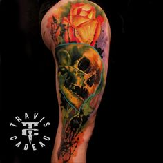 Done for a convention Cool Tattoos For Guys, Inked Magazine, Floral Tattoos, Skull, Tattoo Ideas, Canada, Flower Tattoos, Sugar Skull, Flower Side Tattoos