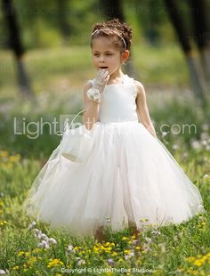 Ball Gown Bateau Tea-length Satin And Tulle Tutu Dress/Flower Girl Dress - USD $ 34.99