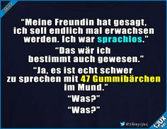 Wie kommt sie nur darauf? #Wortspiel #Witz #Witze #lachen #witzig #lustigeSprüche Funny Shit, Hilarious Stuff, Funny Jokes, Fun Quotes, Best Quotes, Sterek, Malec, True Stories, Haha
