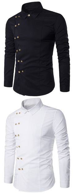 Men's fashion:Turndown Collar Long Sleeve Double Breasted Shirt