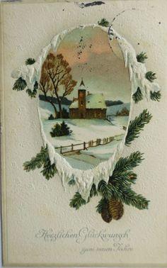 Weihnachten, Kirche, Landschaft 1912,Serie M.S.i.B. 14845 Prägekarte ♥  (4225)