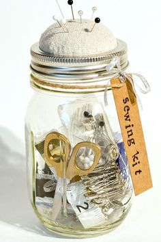 Mason Jar Sewing Kit - 12 Brilliant Ways to Repurpose Your Mason Jars - Southernliving. Get the details on this D.I.Y. from It All Started With Paint