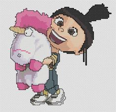 It's so Fluffy Cross Stitch Pattern by WhatSallyMade on Etsy. Say hi to Agnes and her Unicorn from Despicable Me