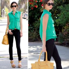 Sleevless bright green button down with black skinnies and orange wedges.  Can't wait for warmer weather!