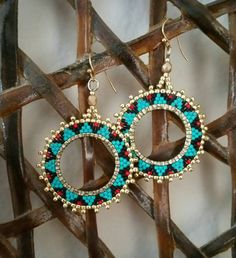 Turquoise, black, and red delicas Gold beads. Beaded earrings Turquoise earrings Women's - www. Seed Bead Jewelry, Seed Bead Earrings, Women's Earrings, Beaded Jewelry, Handmade Jewelry, Jewellery, Gold Jewelry, Native American Earrings, Bijoux Diy