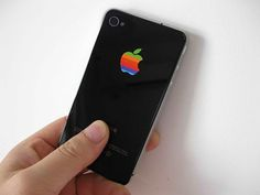 iPhone retro apple decal sticker rainbow 1980's logo for iphone 4