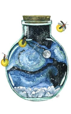 Galaxy in a bottle watercolor painting.