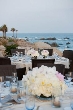 Reception with an ocean view.  Esperanza Resort in Cabo San Lucas, Mexico. Photography By / jenniferlindbergweddings.com