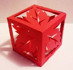 cut paper design Cube with Spearmint Design