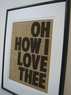 Love wall decor on natural burlap cottage vintage home decor --- No. 11