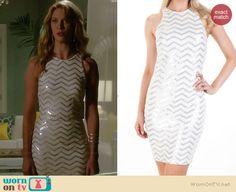 Petra's sequin zig zag dress on Jane the Virgin.  Outfit Details: http://wornontv.net/38713/ #JanetheVirgin