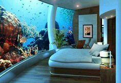 Underwater bedroom at Poseidon Undersea Resort located in Fiji..... A dream come true!