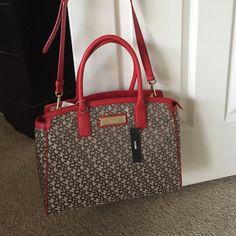 DKNY Handbag Monogram Brown Red Trim Super cute DKNY bag, new DKNY Bags Shoulder Bags