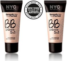 NYC Smooth Skin BB Creme 5 in 1 #002 MEDIUM (1 fl oz) EACH (SET OF 2) PLUS A FREE LIP BALM BY MUA. New York girls don't pretend to be anything they're not: just groomed and gorgeous!. Just like celebrities on the red carpet, in New York City you have to make yourself the best you can be to succeed. But in the city that never sleeps, there's certainly no time for hours in front of the mirror. This 5-in-1 product that will bring you fast fabulousness. Erase skin imperfections and make your...