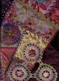 I ❤ crazy quilting . Detail of Crazy Quilt showing embroidery- by suziqu, Crazy Quilting, Crazy Quilt Stitches, Crazy Quilt Blocks, Crazy Patchwork, Patch Quilt, Patchwork Ideas, Quilting Ideas, Ribbon Embroidery, Embroidery Stitches