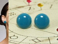 Turquoise Blue Stud Earrings 20 mm  Blue Bright Crystal by biesge, $14.90
