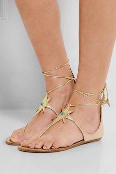 Aquazzura | + Poppy Delevingne Midnight metallic leather and suede sandals | NET-A-PORTER.COM