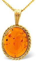 amber-amber 12 x 10mm 9k yellow gold pendant