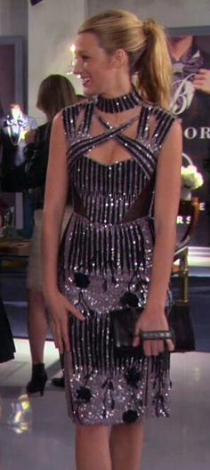Serena\'s taupe sequin dress with studded clutch on Gossip Girl ...
