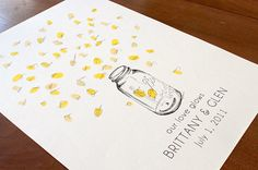 wedding guest book - instead of a tree with finger prints, its a mason jar and the finger prints are fire flies! LOVE it