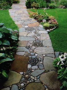 Garden Yard Ideas, Garden Paths, Garden Beds, Easy Garden, Garden Art, Backyard Ideas, Garden Stones, Plantation, Dream Garden