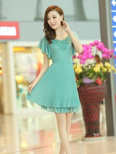 2015 summer new short-sleeved round neck dress YRB0784 #asianfashion #chiffondress #green #greendress