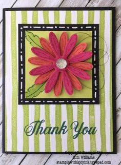 Stampin Up Daisy Delight Bundle. Daisy Punch with Brushstrokes background. Kim Williams, stampinwithkjoyink.typepad.com. Pink Pineapple Paper Crafts. Love the pop of color and the dimension this card brings. Its a happy thank you card with a unique card fold.