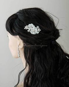 An elegant bridal hair pin of diamond-white matte satin flowers embellished with ivory pearls and rhinestone jeweled leaves. Length of the entire pin is 4 inches, the decoration is 2 inches by inches, sold individually. Satin Flowers, Flowers In Hair, Fabric Flowers, Pretty Hairstyles, Wedding Hairstyles, Pearl Headpiece, Matte Satin, Bridal Hair Pins, Bridal Looks