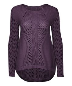 Another great find on #zulily! Aubergine Cable-Knit Hi-Low Sweater by Dex #zulilyfinds