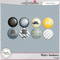 Mister Handsome digital scrapbooking flairs add on by HappyNess Creation. These Cute little flairs will look great on dad or little boy layouts.