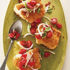 Panko-Crusted Cod with Tomato-Basil Relish