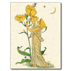 Shop Vintage Fairy Tale, Evening Primrose, Walter Crane Postcard created by YesterdayCafe. Artist Canvas, Canvas Art, Canvas Prints, Walter Crane, Avatar, Fine Art Prints, Framed Prints, Vintage Fairies, Vintage Flowers
